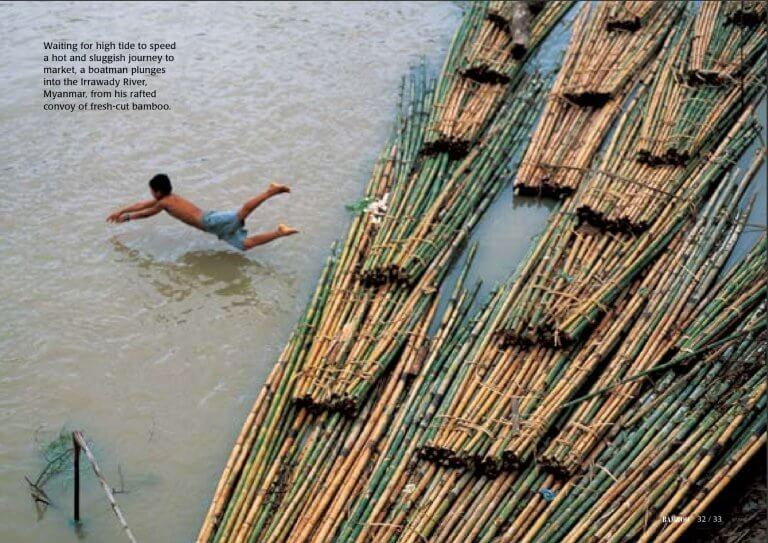 Bamboo float on Irrawaddy river Myanmar